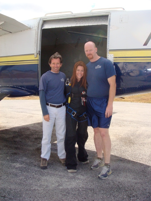 me and co-founder of Skydive Miami Fred Withsitt and Glenn Hodgson, my coach