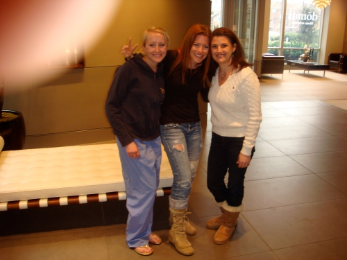 from left:  my little sister Erin, Wharton MBA '09 (she was studying), me and wondergirl Tracy Minning Thomas