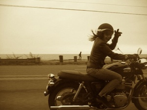 Me on My Triumph on the PCH in Pacific Palisades