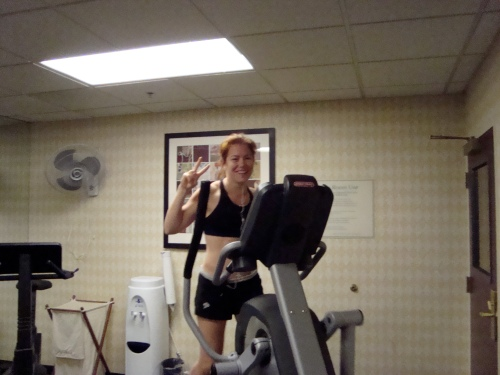 In hotel gym at 5:45AM this morning....looking HOT!  (not somuch- but HEY I was there!)